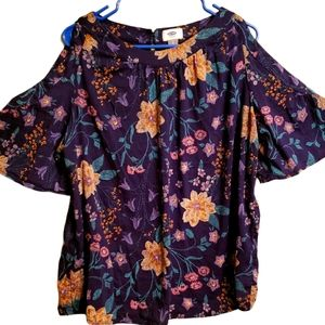 Old Navy flower shoulder split blouse